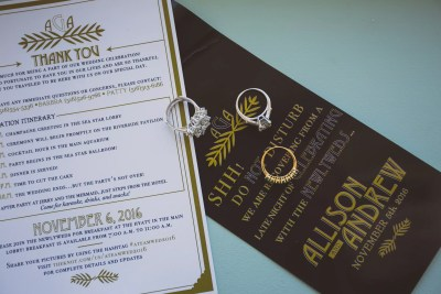 vintage roaring 20s wedding, gold and black affair, hotel door hangers, thank you hotel bag cards,