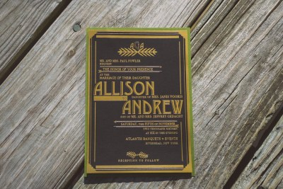 vintage wedding invitations with gold foil, gold and black