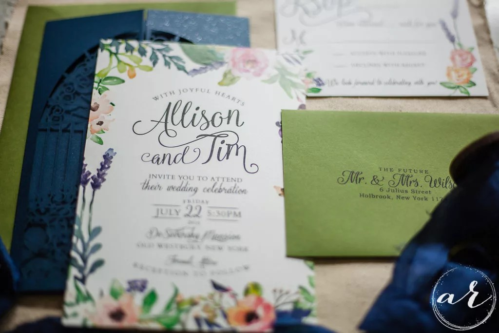 3 piece custom watercolor invitation set