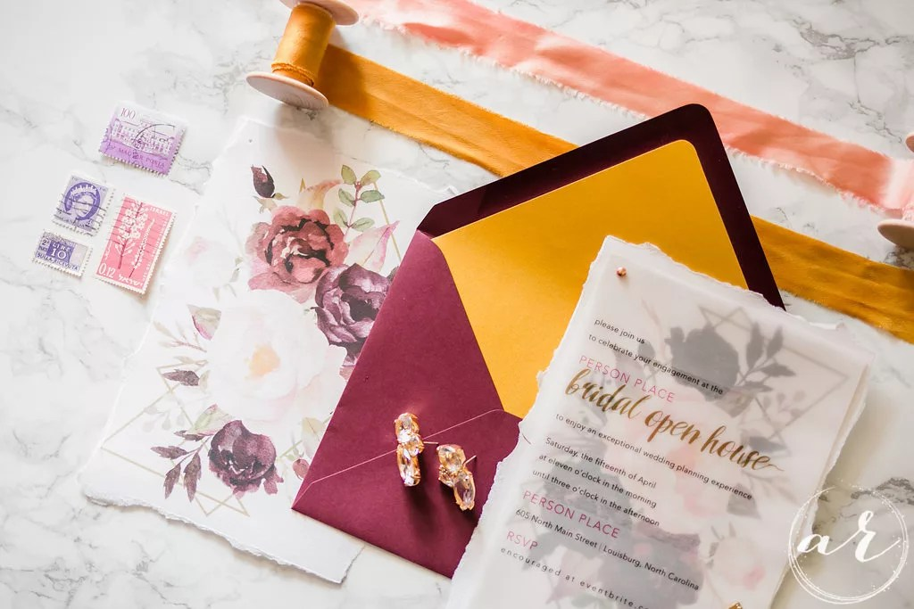 custom invitation on vellum transparent paper with watercoloral and geometric design