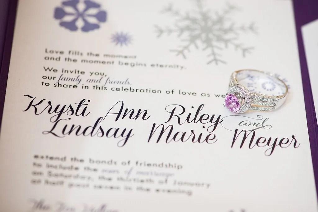 purple snowflake custom wedding invitations