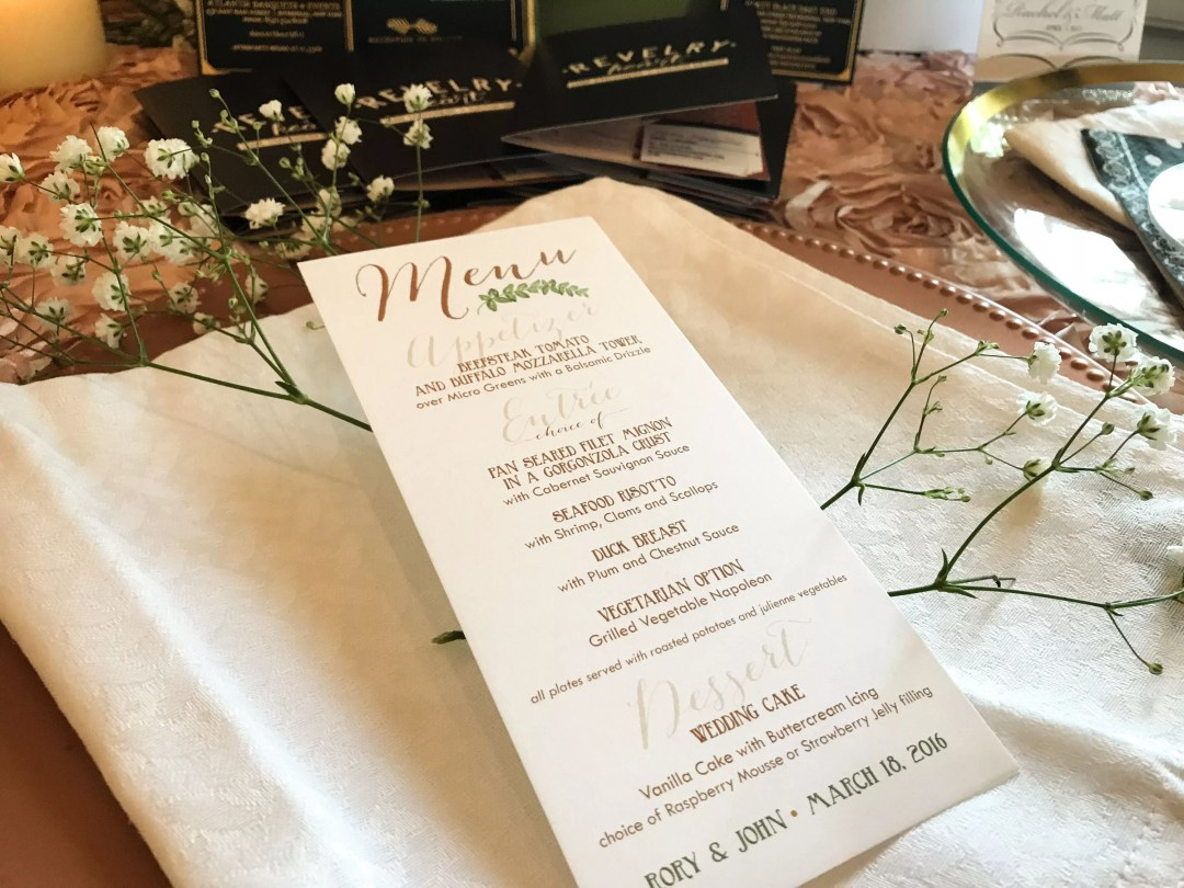 custom menu garden wedding stationery