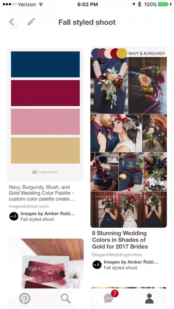 pinterest screenshot for beauty and bordeaux styled shoot mood