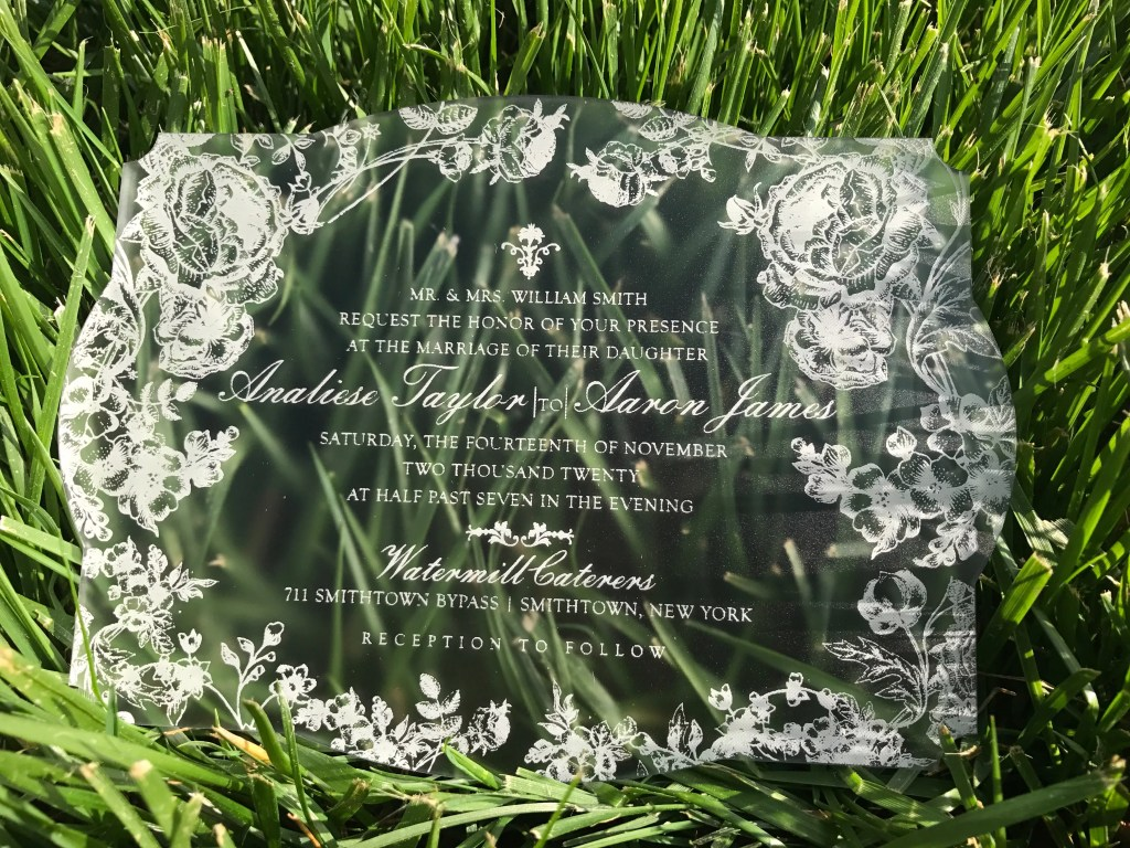 victorian shaped wedding invitation in semi-frosted acrylic with vintage roses