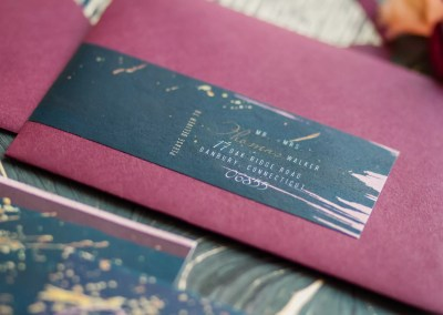 wraparound address label for revelry + heart custom stationery for beauty and bordeaux styled wedding shoot