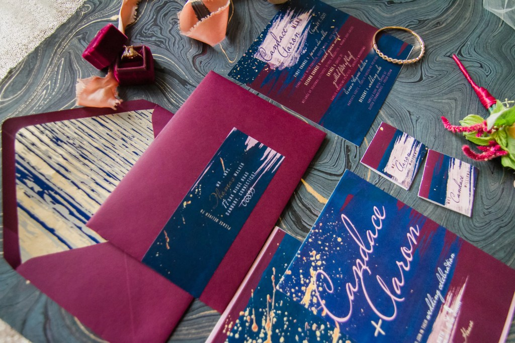 wine and navy invitation design for beauty and bordeauz styled shoot in raleigh, north carolina