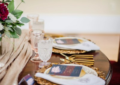 revelry + heart custom wedding menus for beauty and bordeaux styled wedding shoot