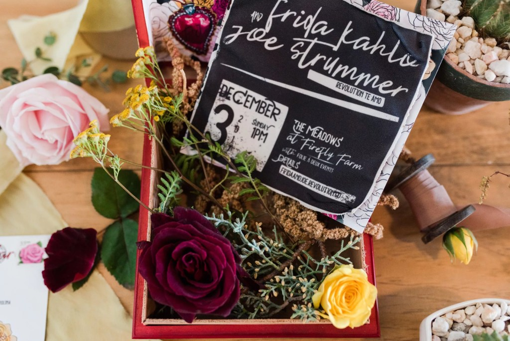 Fabric wedding invitations, punk meets milagros by revelry + heart