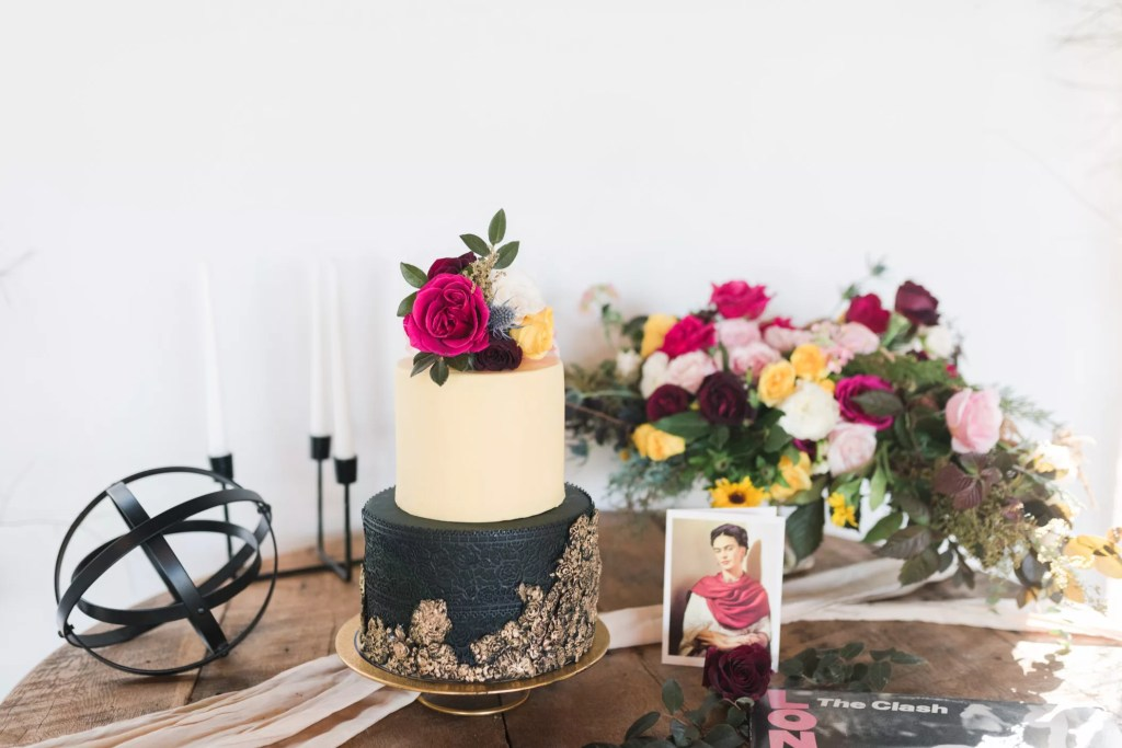 Black, gold and cream wedding cake by Sugar Euphoria