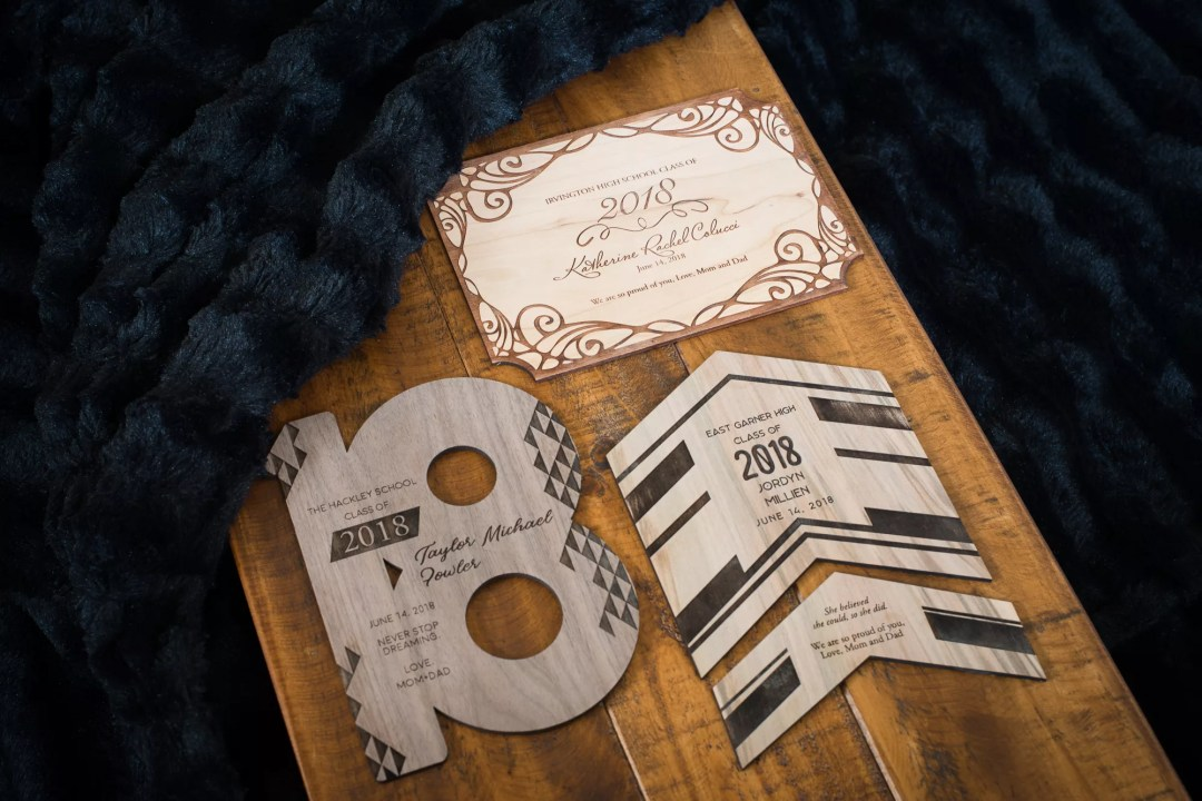 wooden wedding invitation with metallic and laser cut details