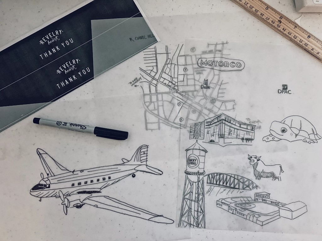 Hand sketched map of durham and vintage aviation for wedding invitation suites