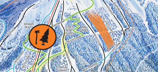 Cropped trail map displaying new glading on Southside at Revelstoke Mountain Resort