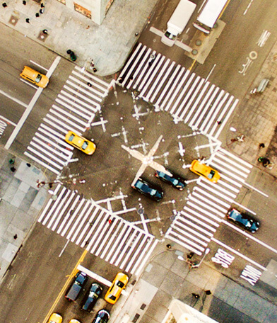 Verkehrskreuzung von oben-Vetriebsstruktur