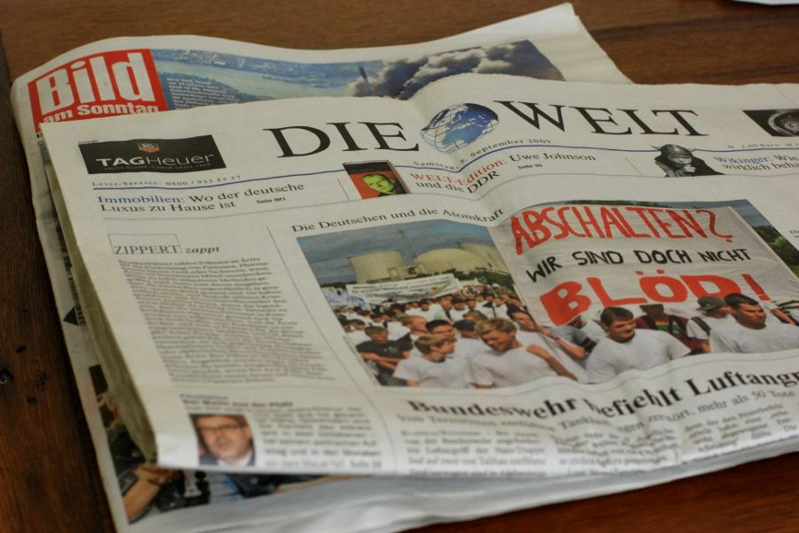German language newspapers Die Welt and Bild.