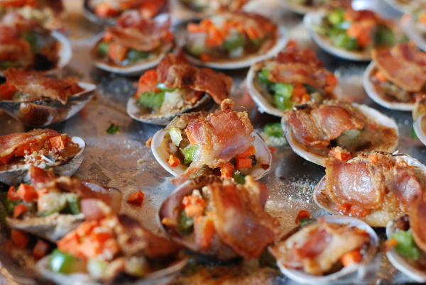 Finished clams casino