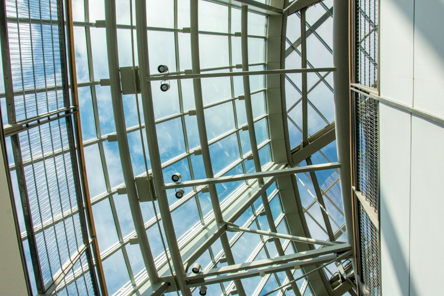 The fantastic architecture of the glass ceiling at the Mashantucket Pequot Museum in Connecticut.