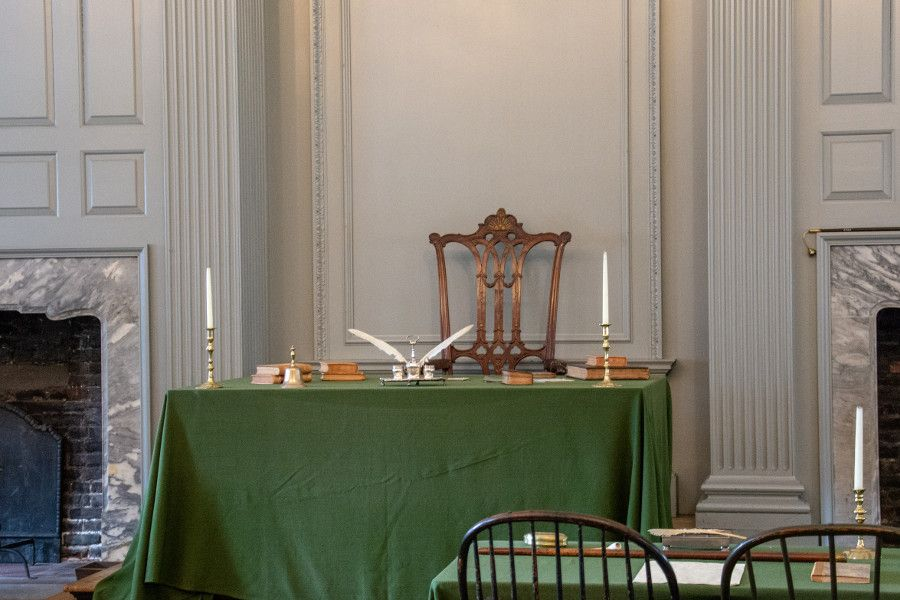 George Washington's chair inside the Assembly Room in Independence Hall in Philadelphia.