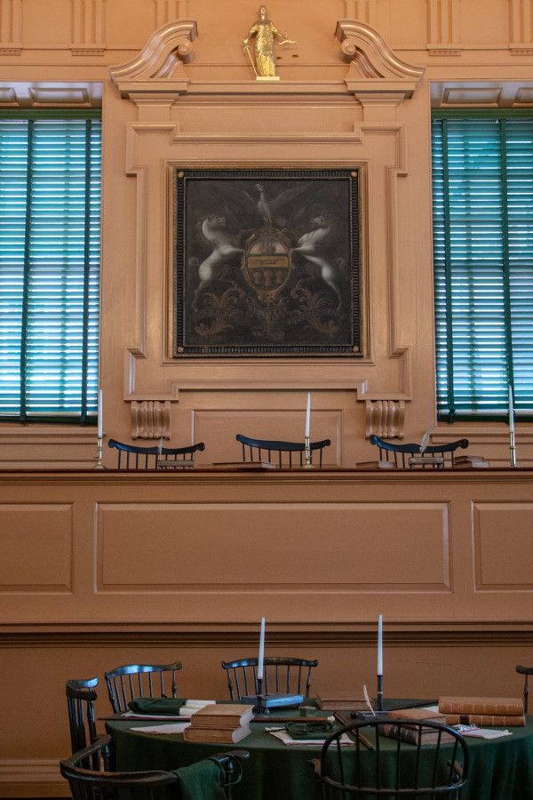 The Assembly Room inside Independence Hall in historic Old City Philadelphia.