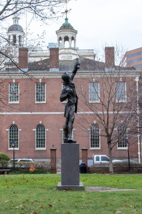 The Signer statue in historic Old City Philadelphia.