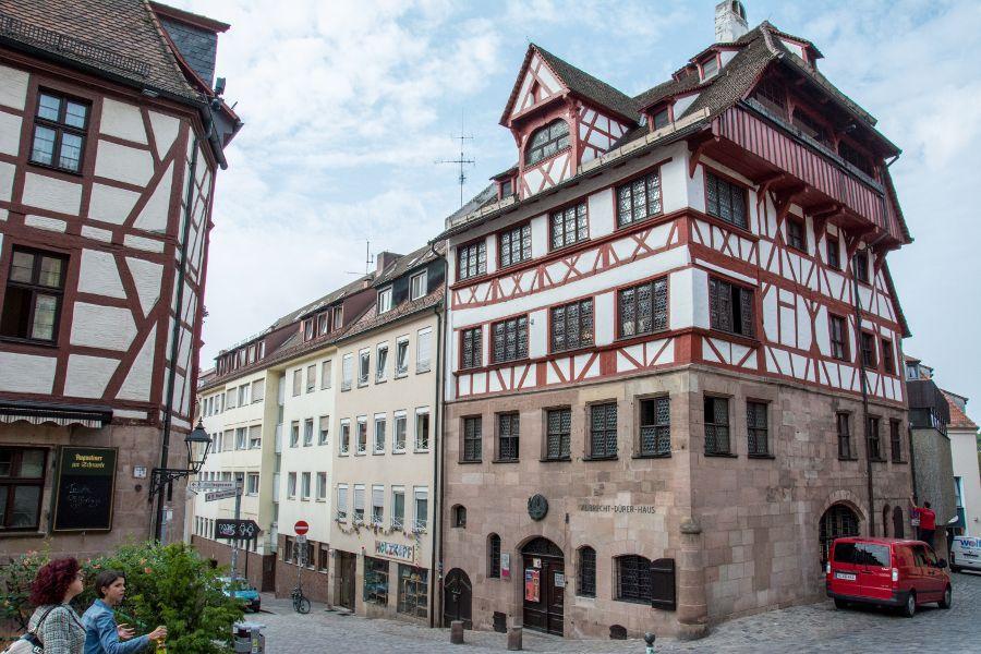 Outside of the Albrecht Dürer house, in Nuremberg, Germany.