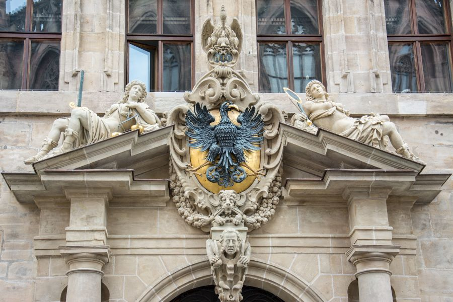 An elaborate architectural detail on Nuremberg's city hall.