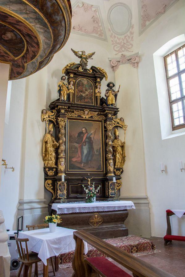 An altar inside the St Bartholomew Church on the Königssee.