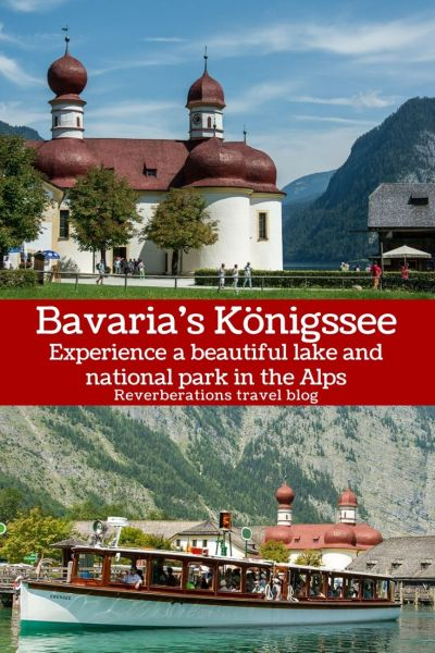 Experience Bavaria's beautiful lake Königssee in Berchtesgaden National Park. Visitors can explore the Watzmann mountain and a charming pilgrimage church! #germany #bavaria
