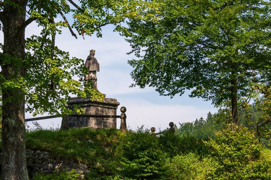 A statue stands watching over the Berchtesgaden National Park.