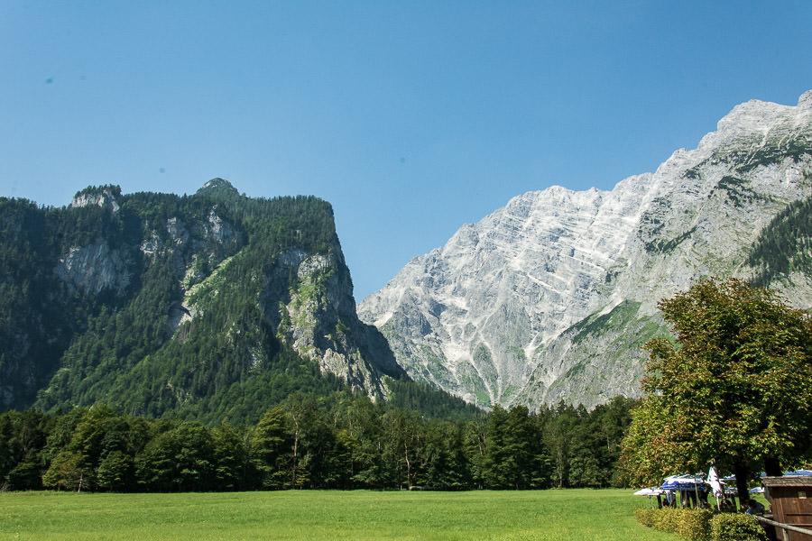 The Watzmann peaks tower over the Berchtesgaden National Park.