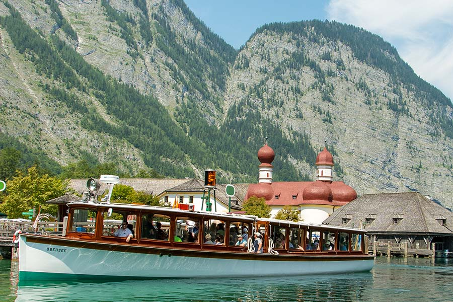 The Königssee ferry (or Königssee Schifffahrt) brings visitors to Berchtesgaden National Park.