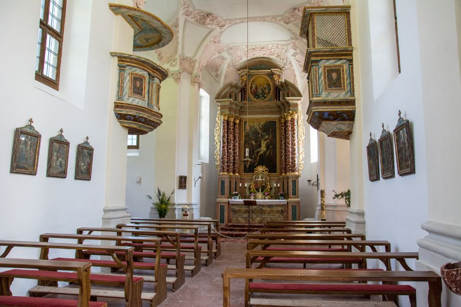 Inside the St Bartholomew Church on the Königssee.