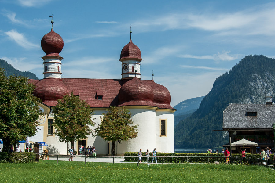 St. Bartholomew's Church sits on the edge of the Königssee in Berchtesgaden National Park.