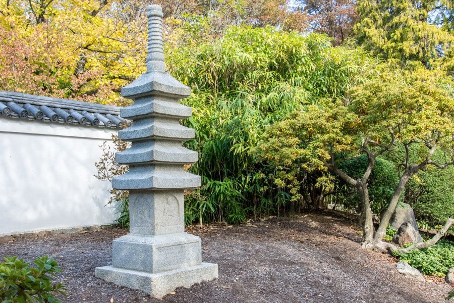 Stone marker in the Japanese garden at Shofuso in Philadelphia.