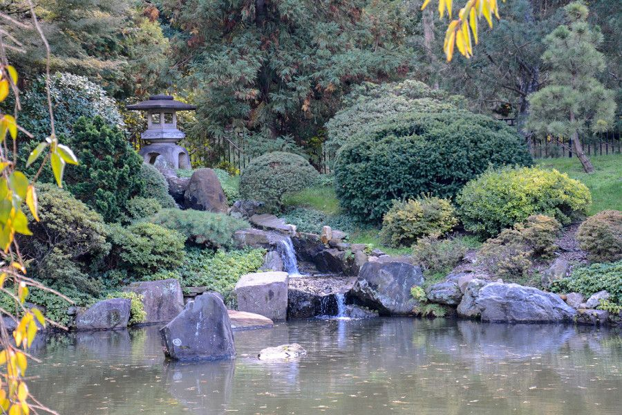 A waterfall in the Japanese garden at Shofuso in Philadelphia.
