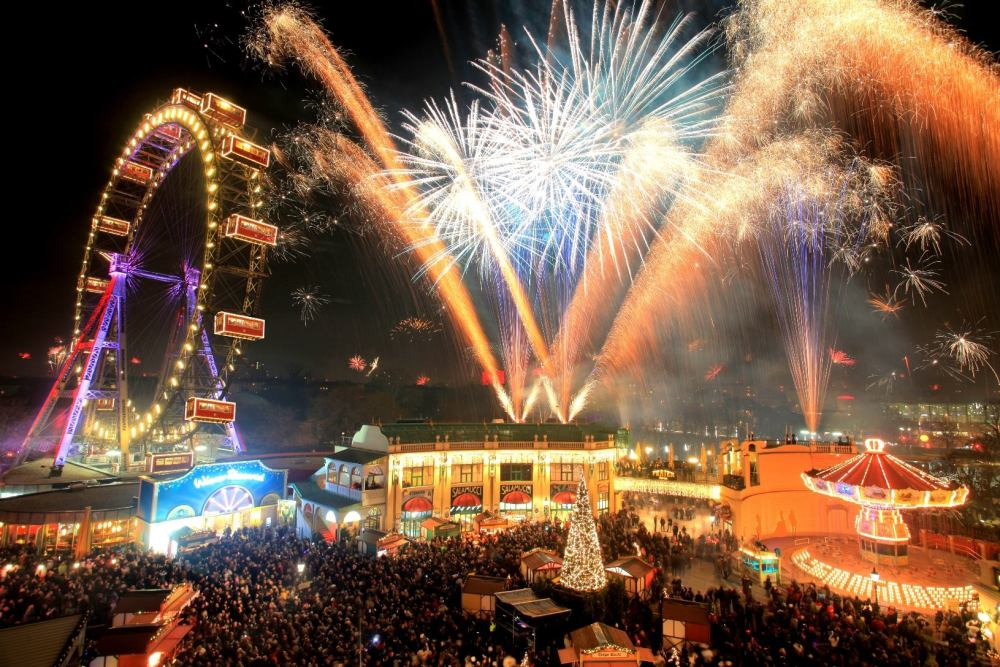 wurstelprater in vienna, austria at new years