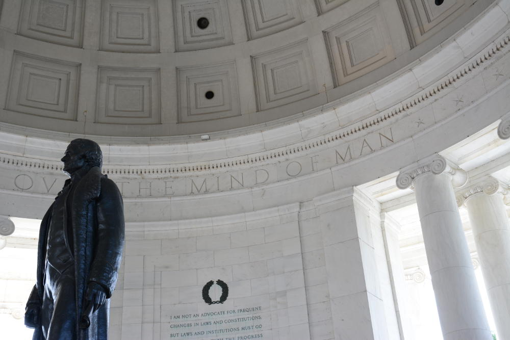 Inside the Jefferson Memorial. More on how to spend your day in Washington, D.C. on Reverberations.