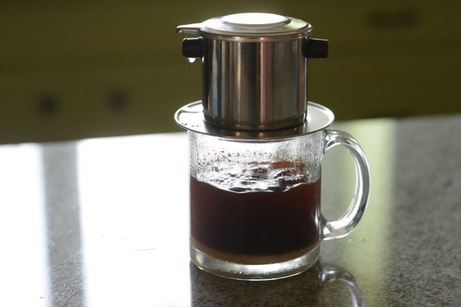 Vietnamese coffee filter brewing