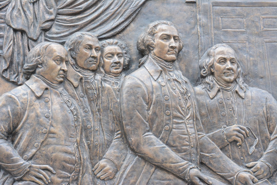 Founding fathers art by Ellen Qiong Schicktanz. Philadelphia's brand new Museum of the American Revolution shares the real stories of the struggles and war that helped found the United States.