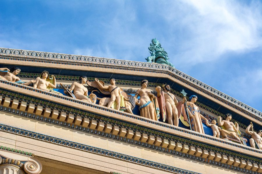 Architectural details on the exterior of the Philadelphia Museum of Art.