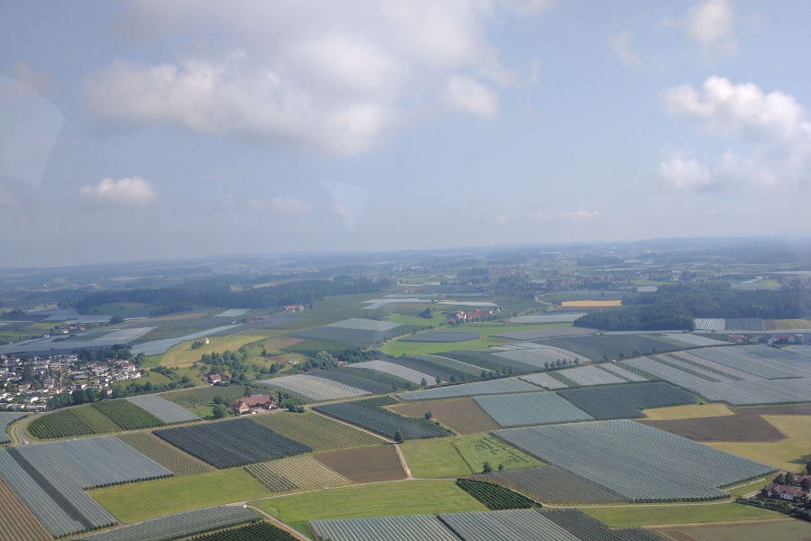 The countryside outside of Friedrichshafen as seen from a Zeppelin.