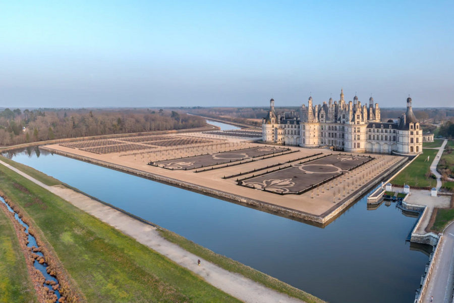 Seen from above, Château de Chambord is a must see palace in central France.
