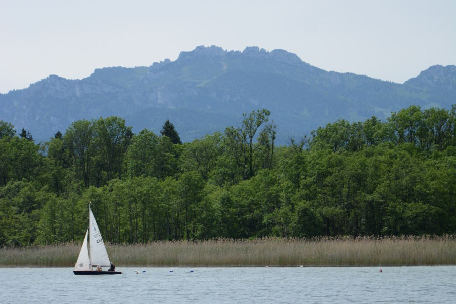A sailboat and the mountain on lake Chiemsee.