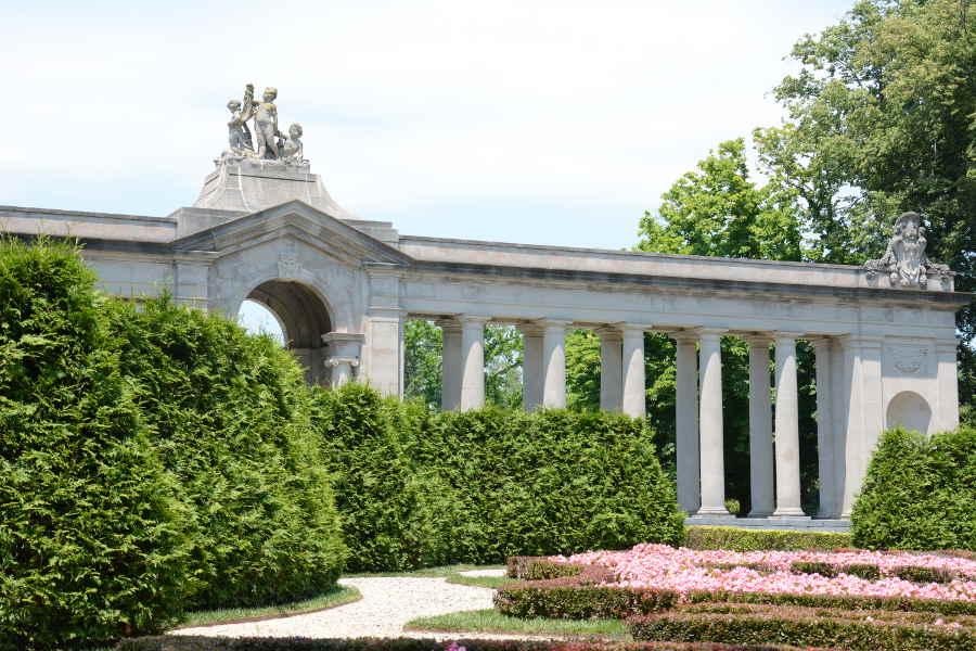 Nemours Mansion Colonnade and Maze Gardens.