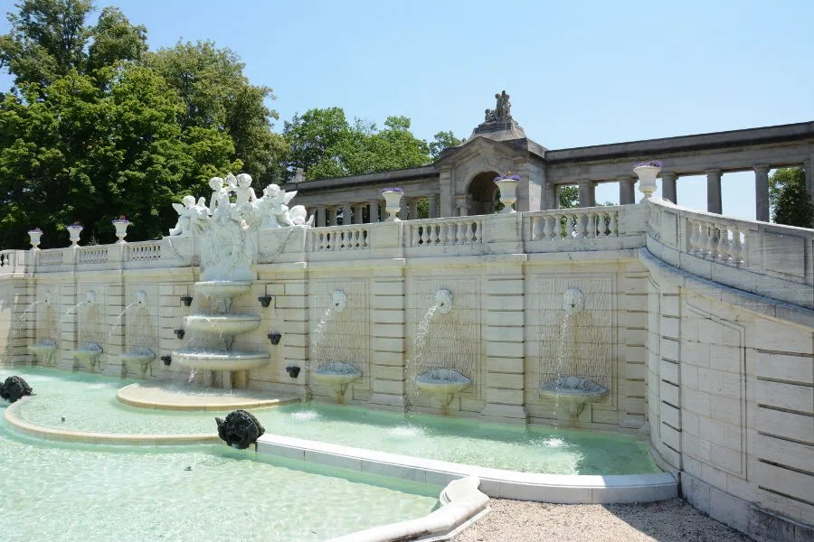 The Sunken Gardens and Colonnade at Nemours Mansion and Gardens in Wilmington, Delaware.