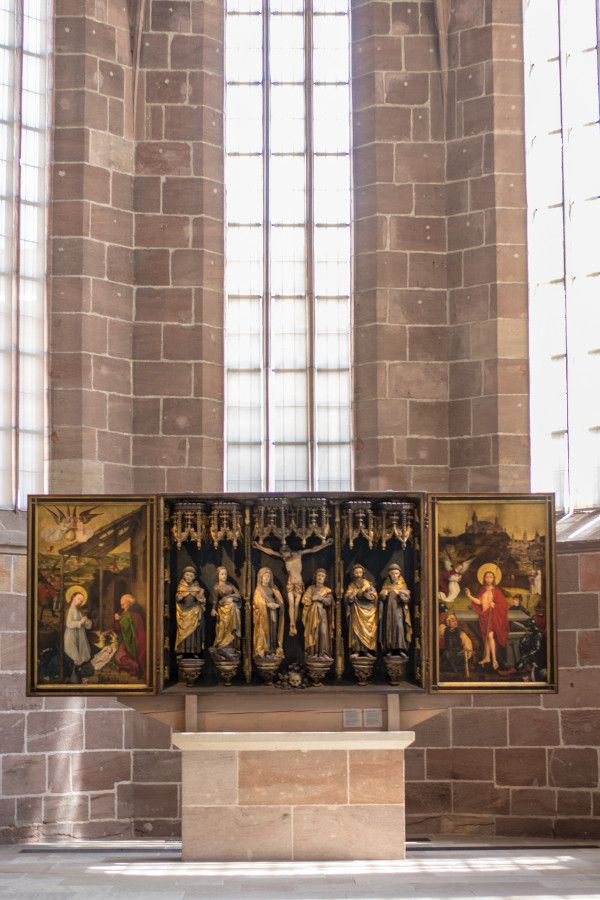 Religious art in cloister at Germanisches Nationalmuseum in Nuremberg, Germany.