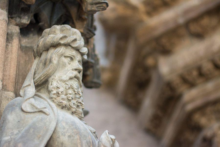Stone sculpture at Germanisches Nationalmuseum in Nuremberg, Germany.