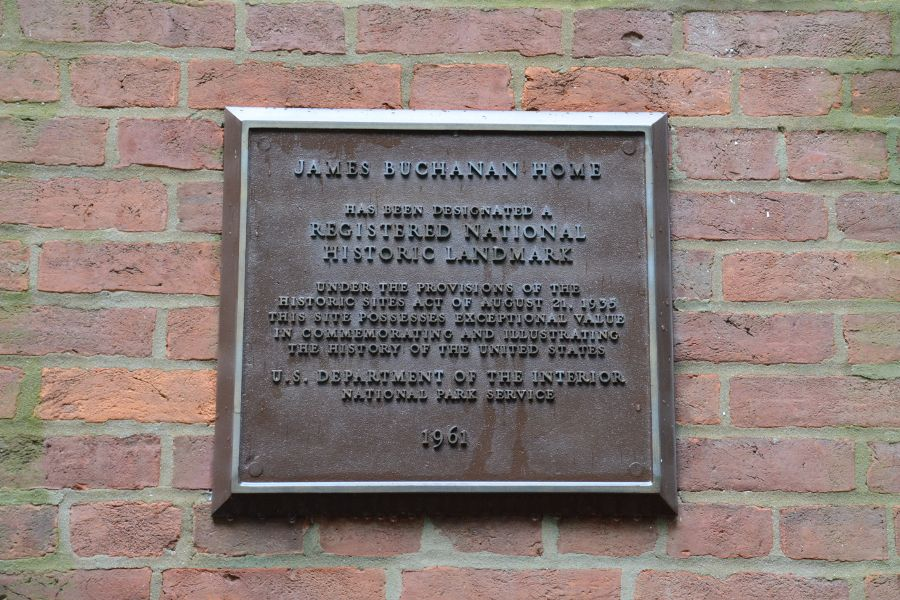 Historic home plaque at James Buchanan's Wheatland.