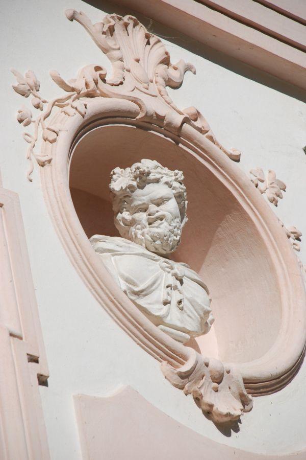 Exterior details in Amalienburg at Nymphenburg in Munich, Germany.