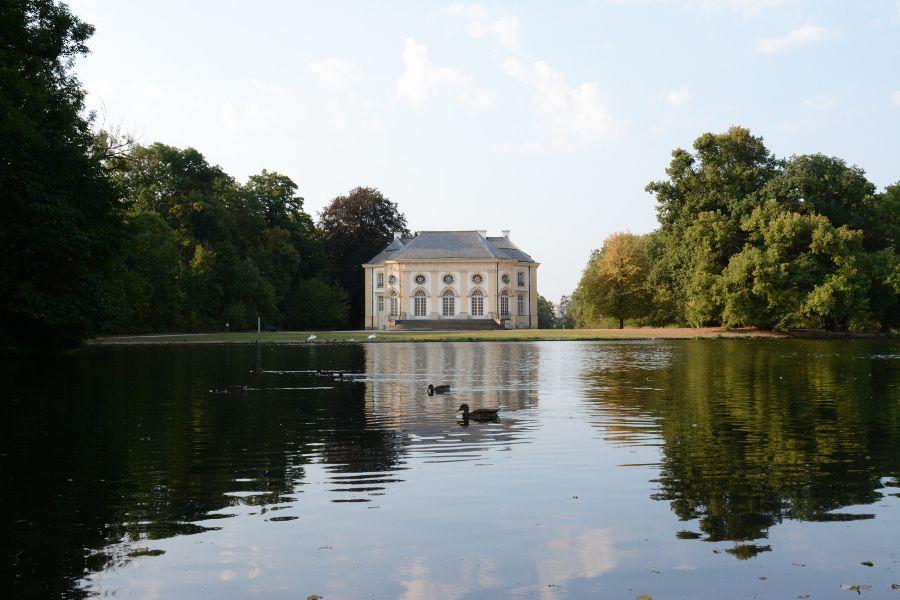 Badenburg and lake at Nymphenburg in Munich, Germany.