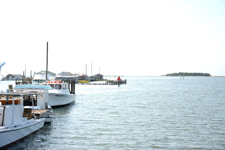 Boats docked at Ewell on Smith Island.